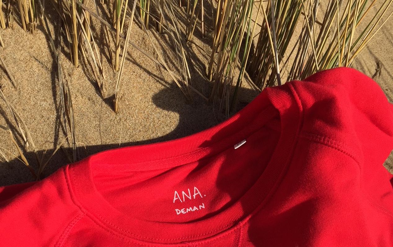 ana deman, vetement, sweatshirt, rouge, coton bio, fashion