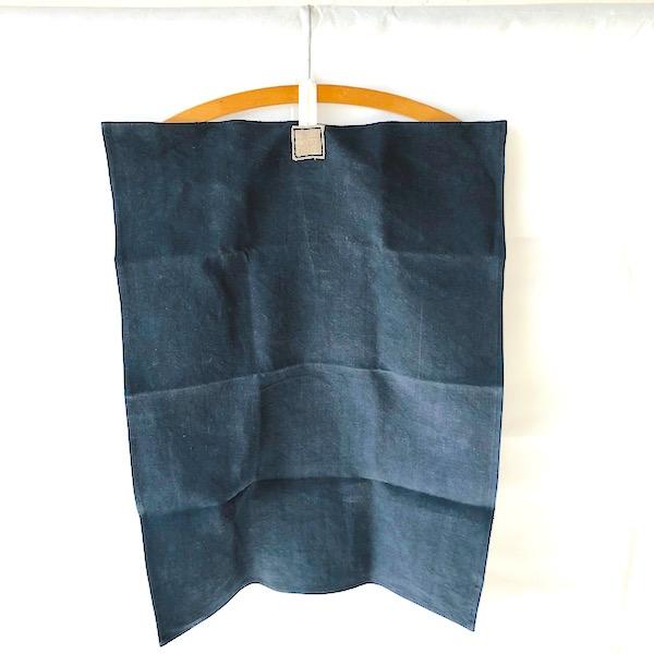 torchon en lin anvien ana deman annette van ryhsen teinté en bleu vendee france fabrication française vendée globe