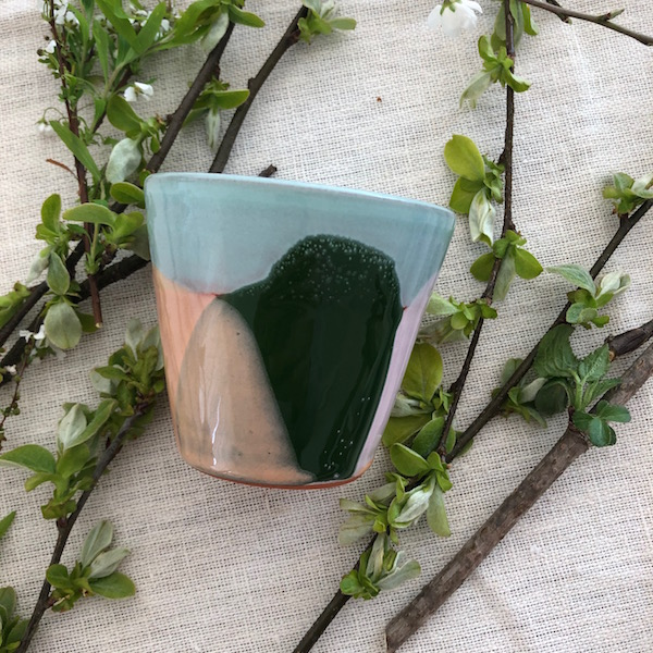 mini mug ceramique vendee vert saumon rose