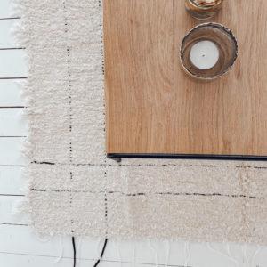 tapis tissé à la main au portugal en coton recyclé crème